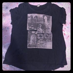 Distressed haunted cemetery shirt w/holes